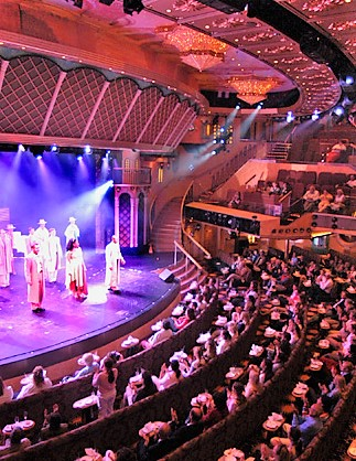 Elaborate Las Vegas-style shows are standard fare on   three-deck-high Showrooms.